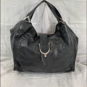 GUCCI Stirrup medium black leather shoulder bag